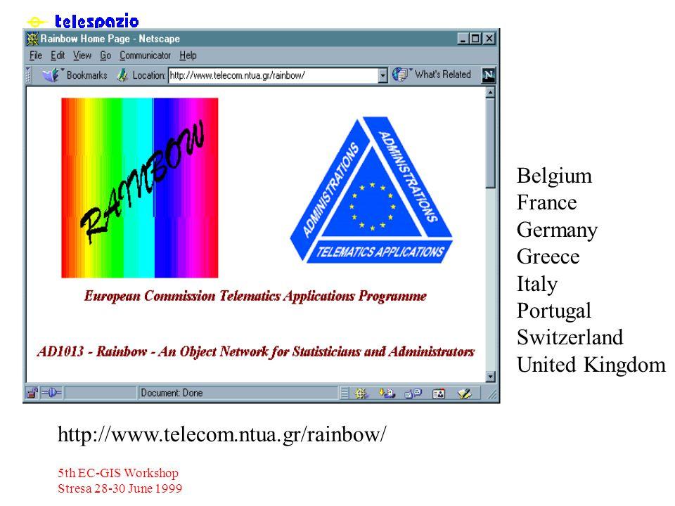 5th EC-GIS Workshop Stresa 28-30 June 1999 http://www.telecom.ntua.gr/rainbow/ Belgium France Germany Greece Italy Portugal Switzerland United Kingdom