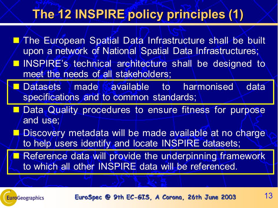 EuroSpec @ 9th EC-GIS, A Corona, 26th June 2003 13 The 12 INSPIRE policy principles (1) The European Spatial Data Infrastructure shall be built upon a