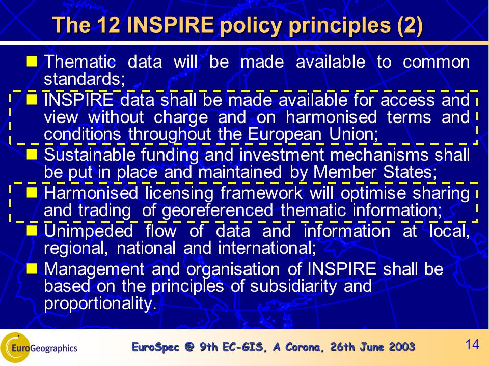EuroSpec @ 9th EC-GIS, A Corona, 26th June 2003 14 The 12 INSPIRE policy principles (2) Thematic data will be made available to common standards; INSP