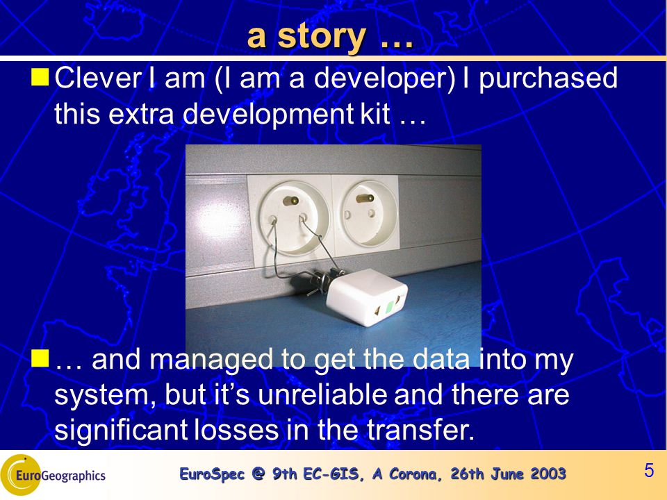 EuroSpec @ 9th EC-GIS, A Corona, 26th June 2003 5 a story … Clever I am (I am a developer) I purchased this extra development kit … … and managed to g