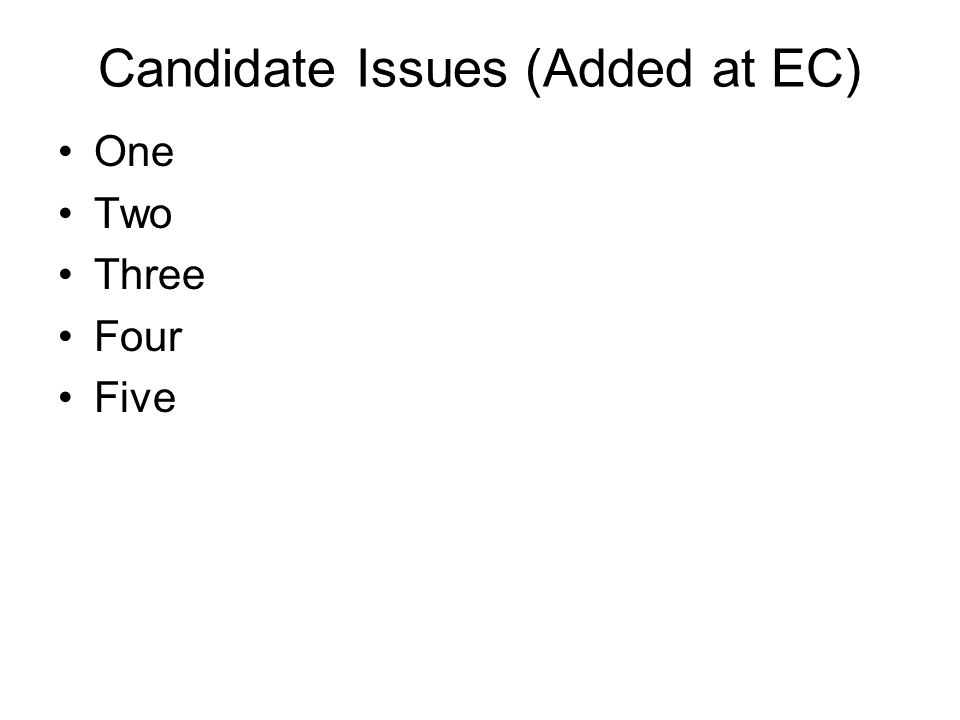 Candidate Issues (Added at EC) One Two Three Four Five