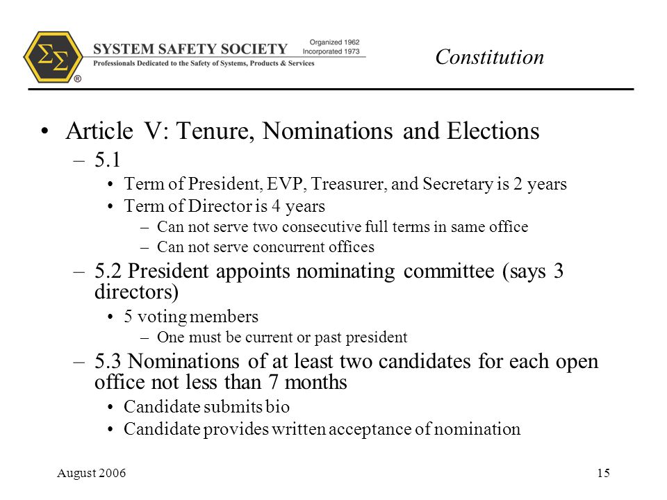 Constitution August 200615 Article V: Tenure, Nominations and Elections –5.1 Term of President, EVP, Treasurer, and Secretary is 2 years Term of Director is 4 years –Can not serve two consecutive full terms in same office –Can not serve concurrent offices –5.2 President appoints nominating committee (says 3 directors) 5 voting members –One must be current or past president –5.3 Nominations of at least two candidates for each open office not less than 7 months Candidate submits bio Candidate provides written acceptance of nomination