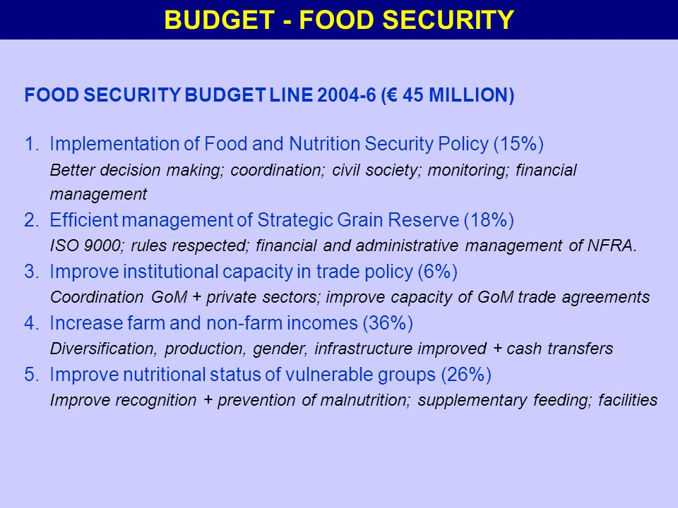 BUDGET - FOOD SECURITY FOOD SECURITY BUDGET LINE 2004-6 (€ 45 MILLION) 1.Implementation of Food and Nutrition Security Policy (15%) Better decision making; coordination; civil society; monitoring; financial management 2.Efficient management of Strategic Grain Reserve (18%) ISO 9000; rules respected; financial and administrative management of NFRA.