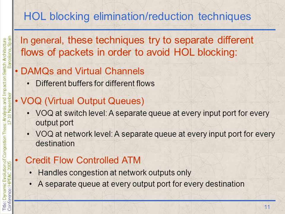 Title: Dynamic Evolution of Congestion Trees: Analysis and Impact on Switch Architecture Conference: HiPEAC 200517-18 NovemberBarcelona, Spain 11 HOL blocking elimination/reduction techniques DAMQs and Virtual Channels Different buffers for different flows VOQ (Virtual Output Queues) VOQ at switch level: A separate queue at every input port for every output port VOQ at network level: A separate queue at every input port for every destination Credit Flow Controlled ATM Handles congestion at network outputs only A separate queue at every output port for every destination In general, these techniques try to separate different flows of packets in order to avoid HOL blocking: