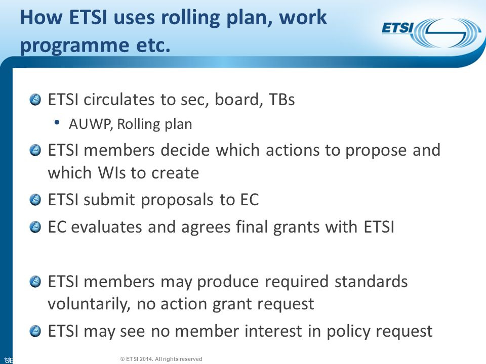SEM26-01 How ETSI uses rolling plan, work programme etc.