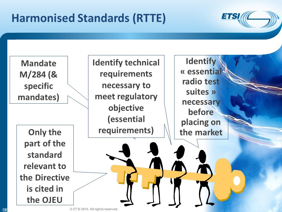 SEM26-01 Harmonised Standards (RTTE) 24 Mandate M/284 (& specific mandates) Identify « essential radio test suites » necessary before placing on the market Only the part of the standard relevant to the Directive is cited in the OJEU Identify technical requirements necessary to meet regulatory objective (essential requirements) © ETSI 2014.