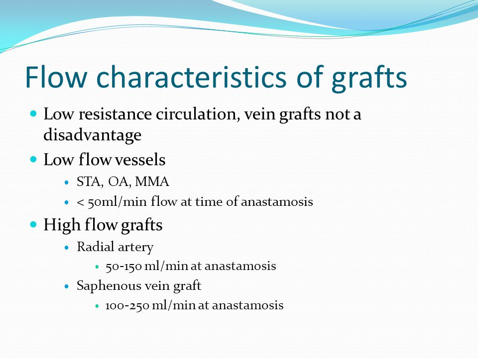 Flow characteristics of grafts Low resistance circulation, vein grafts not a disadvantage Low flow vessels STA, OA, MMA < 50ml/min flow at time of anastamosis High flow grafts Radial artery 50-150 ml/min at anastamosis Saphenous vein graft 100-250 ml/min at anastamosis