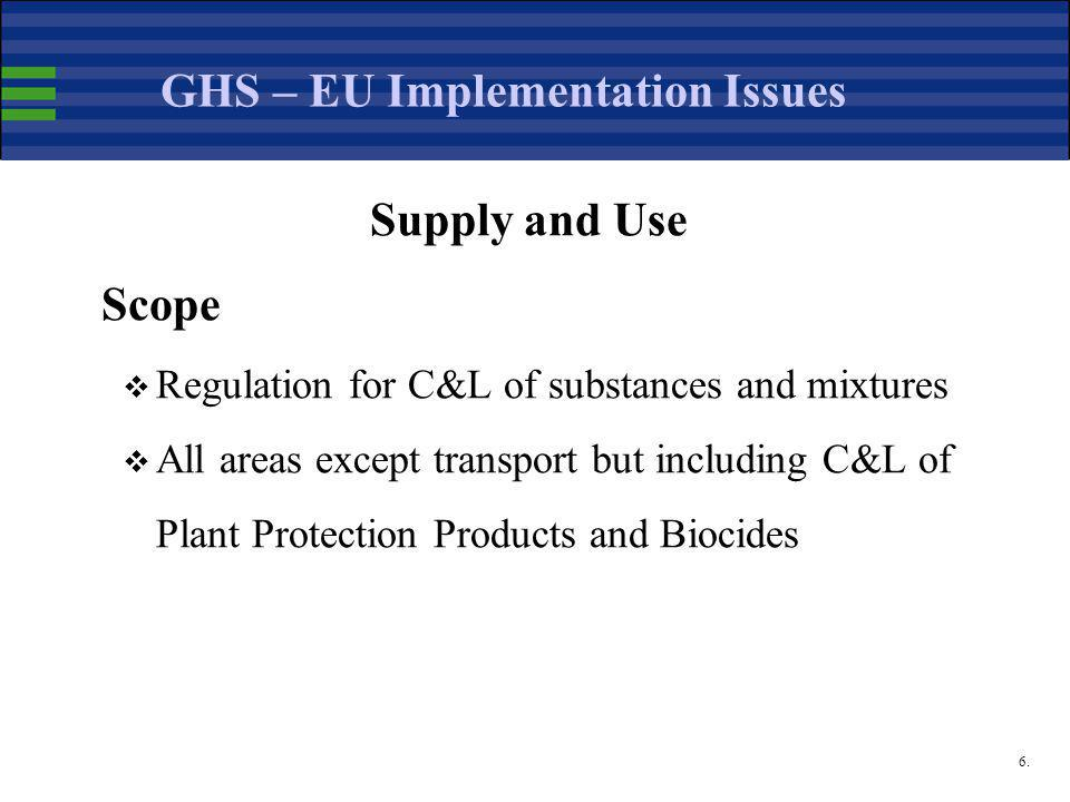 6. GHS – EU Implementation Issues Supply and Use Scope  Regulation for C&L of substances and mixtures  All areas except transport but including C&L