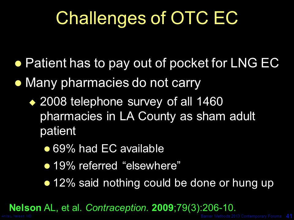 Anita L. Nelson, MD 41 Barrier Methods 2013 Contemporary Forums Challenges of OTC EC Patient has to pay out of pocket for LNG EC Many pharmacies do no