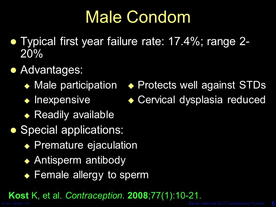 Anita L. Nelson, MD 6 Barrier Methods 2013 Contemporary Forums Male Condom Typical first year failure rate: 17.4%; range 2- 20% Advantages:  Male par