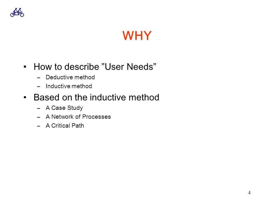 4 WHY How to describe User Needs –Deductive method –Inductive method Based on the inductive method –A Case Study –A Network of Processes –A Critical Path