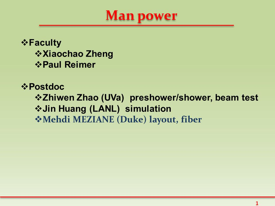 Man power  Faculty  Xiaochao Zheng  Paul Reimer  Postdoc  Zhiwen Zhao (UVa) preshower/shower, beam test  Jin Huang (LANL) simulation  Mehdi MEZIANE (Duke) layout, fiber 1