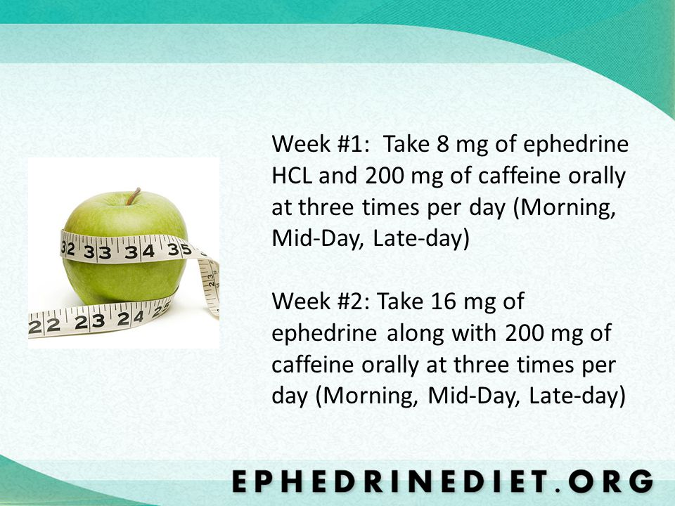 Week #1: Take 8 mg of ephedrine HCL and 200 mg of caffeine orally at three times per day (Morning, Mid-Day, Late-day) Week #2: Take 16 mg of ephedrine along with 200 mg of caffeine orally at three times per day (Morning, Mid-Day, Late-day)