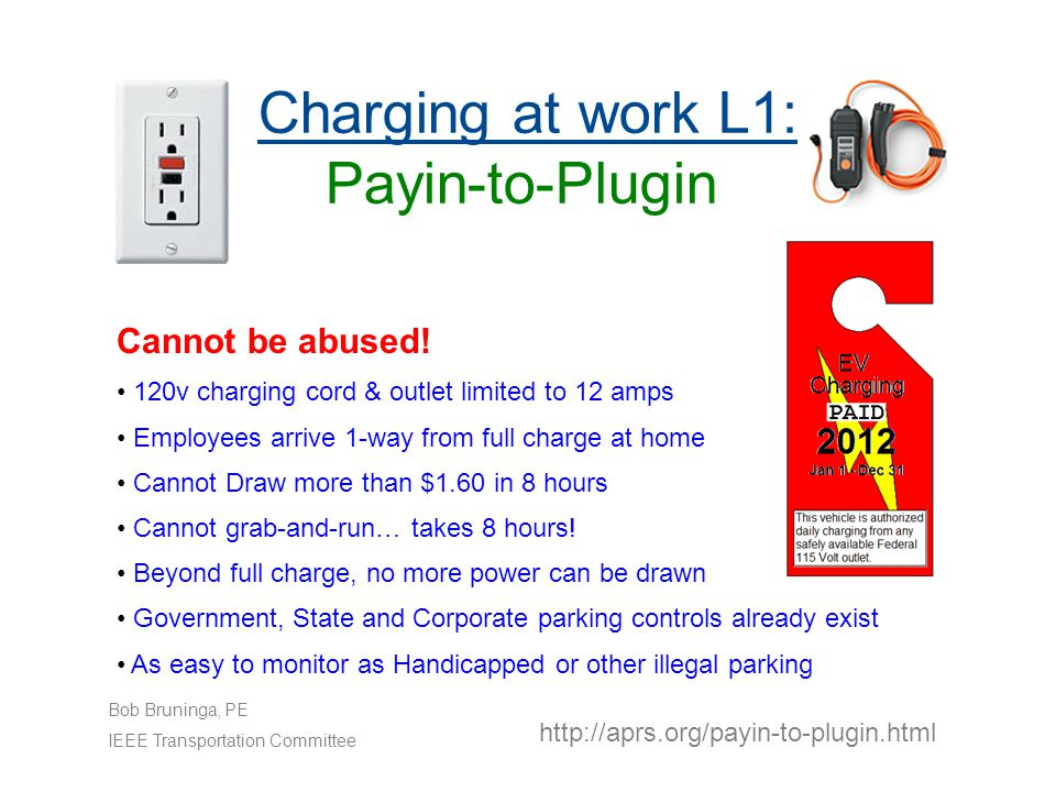 Charging at work L1: Payin-to-Plugin http://aprs.org/payin-to-plugin.html Bob Bruninga, PE IEEE Transportation Committee Cannot be abused.