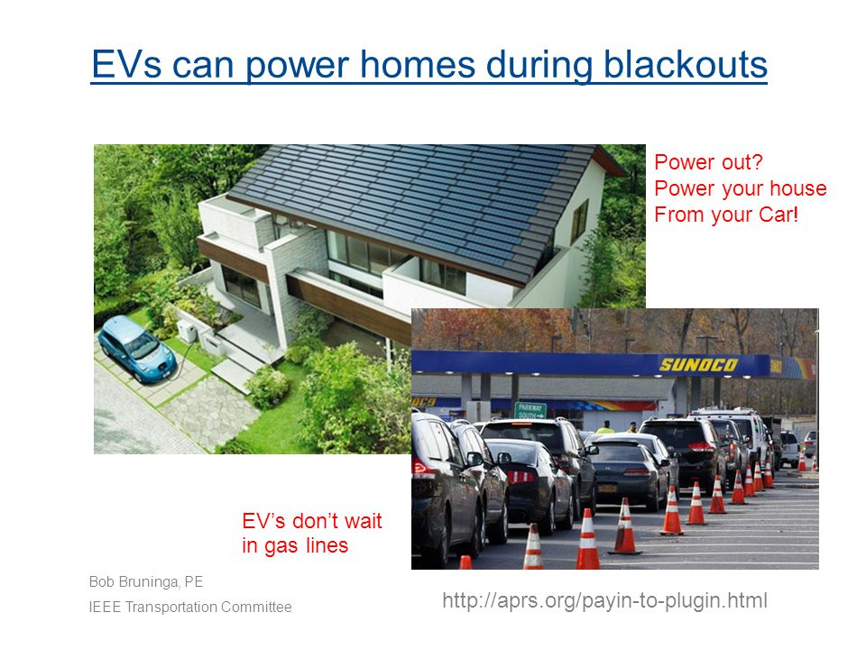 EVs can power homes during blackouts Power out. Power your house From your Car.