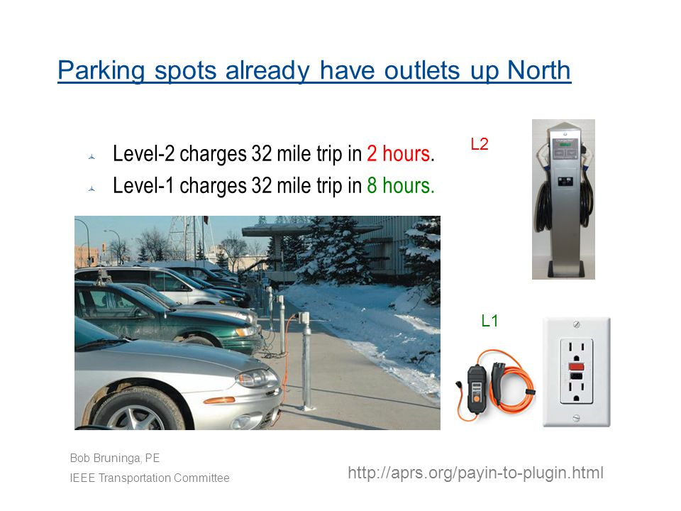Parking spots already have outlets up North  Level-2 charges 32 mile trip in 2 hours.