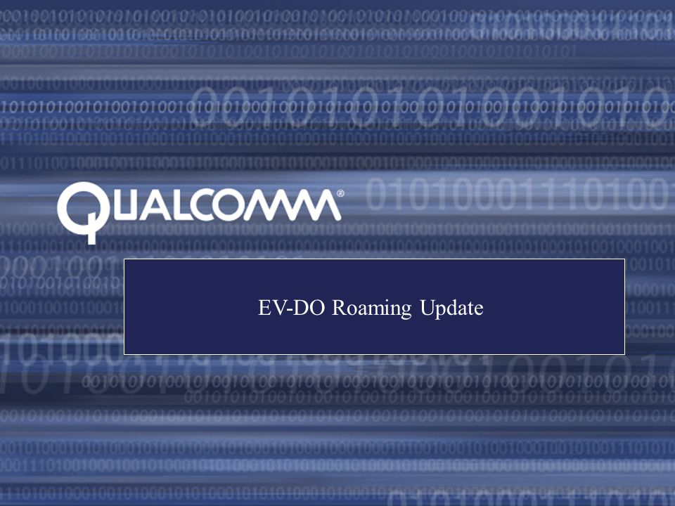 EV-DO Roaming Update