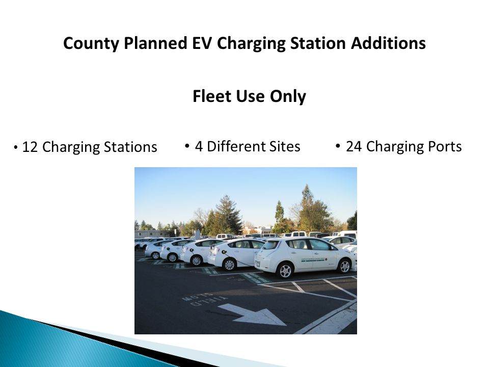 County Planned EV Charging Station Additions 12 Charging Stations 4 Different Sites 24 Charging Ports Fleet Use Only