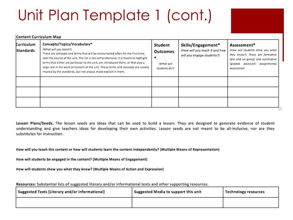 Unit Plan Template 1 (cont.)