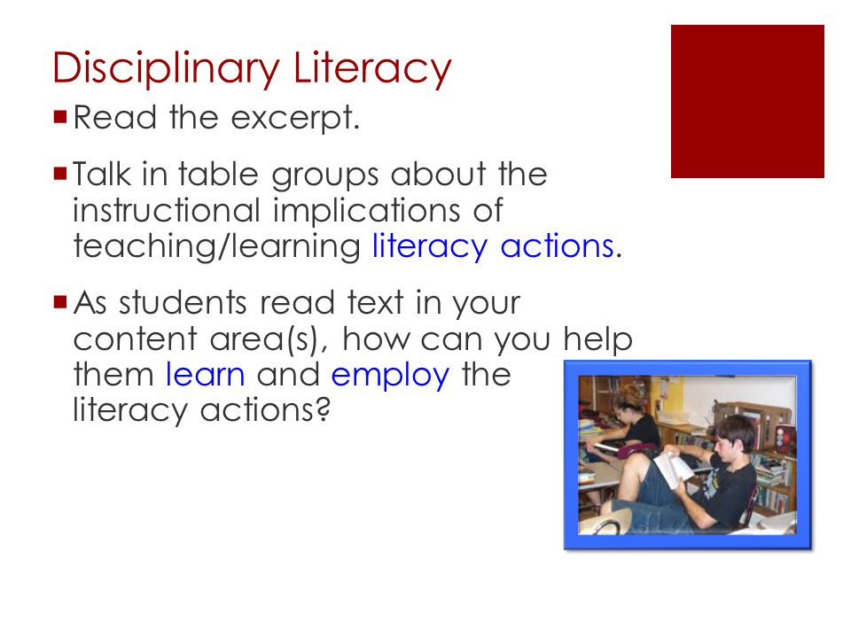 Disciplinary Literacy  Read the excerpt.