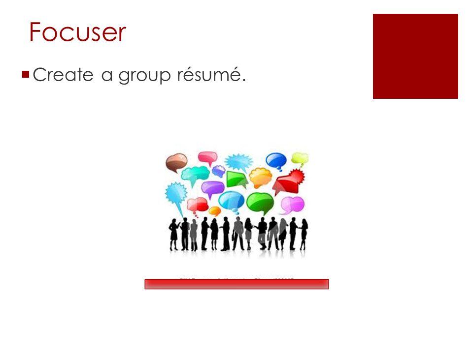 Focuser  Create a group résumé.