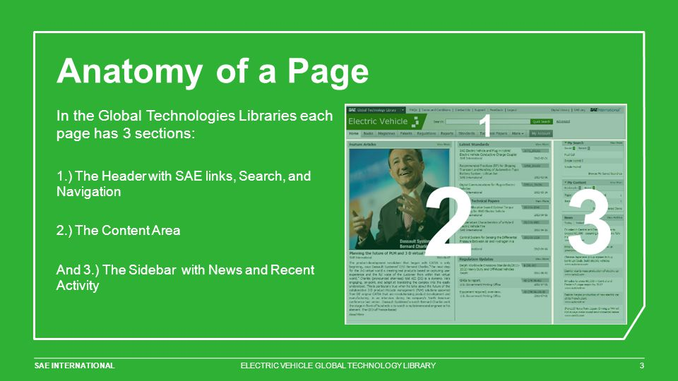 SAE INTERNATIONAL Anatomy of a Page ELECTRIC VEHICLE GLOBAL TECHNOLOGY LIBRARY3 In the Global Technologies Libraries each page has 3 sections: 1.) The Header with SAE links, Search, and Navigation 2.) The Content Area And 3.) The Sidebar with News and Recent Activity