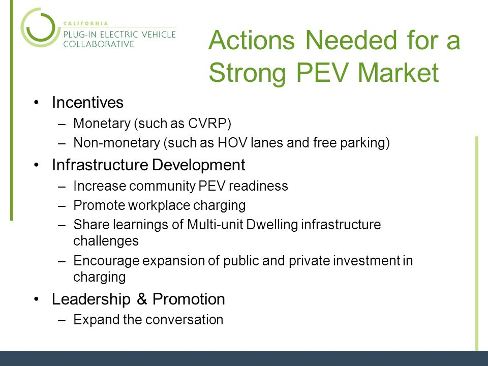 Incentives –Monetary (such as CVRP) –Non-monetary (such as HOV lanes and free parking) Infrastructure Development –Increase community PEV readiness –Promote workplace charging –Share learnings of Multi-unit Dwelling infrastructure challenges –Encourage expansion of public and private investment in charging Leadership & Promotion –Expand the conversation Actions Needed for a Strong PEV Market