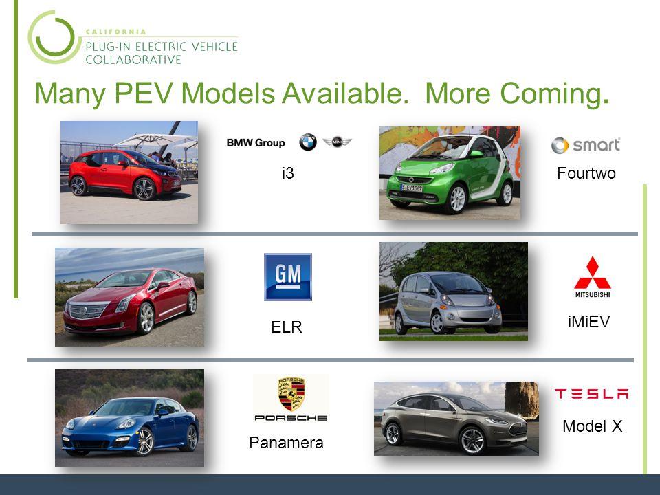 Many PEV Models Available. More Coming. 9 i8 Soul EV B-Class Electric Scion iQ EV Outlander e-NV200