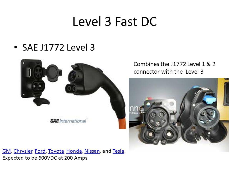 Level 3 Fast DC SAE J1772 Level 3 GMGM, Chrysler, Ford, Toyota, Honda, Nissan, and Tesla.ChryslerFordToyotaHondaNissanTesla Expected to be 600VDC at 2