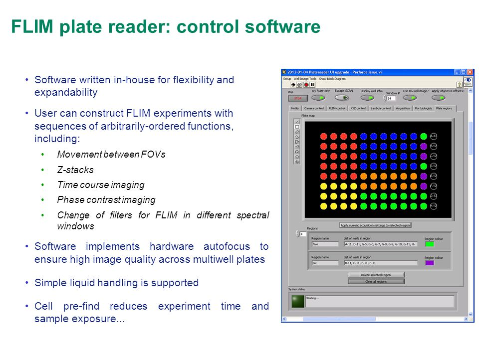 FLIM plate reader: control software Software written in-house for flexibility and expandability User can construct FLIM experiments with sequences of