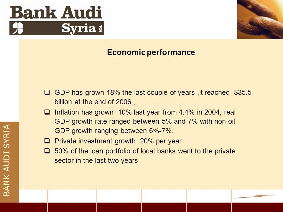 BANK AUDI SYRIA Current Banking Conditions  Syrian banking sector was distinguished by the presence of one commercial bank, and other specialized ones.