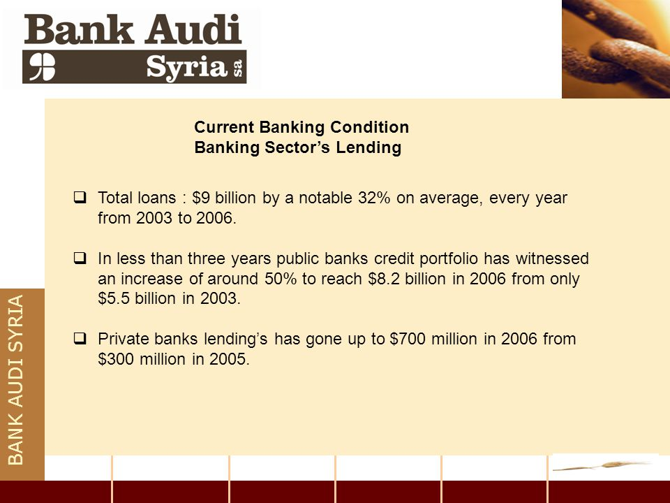 BANK AUDI SYRIA  Total loans : $9 billion by a notable 32% on average, every year from 2003 to 2006.  In less than three years public banks credit p