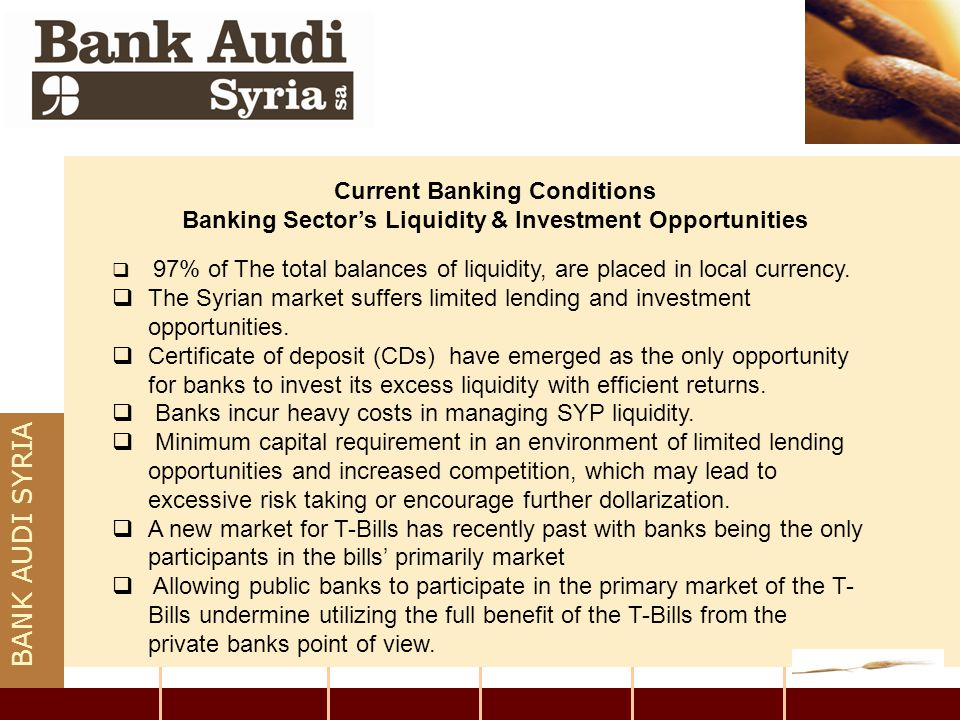 BANK AUDI SYRIA Current Banking Conditions Banking Sector's Liquidity & Investment Opportunities  97% of The total balances of liquidity, are placed