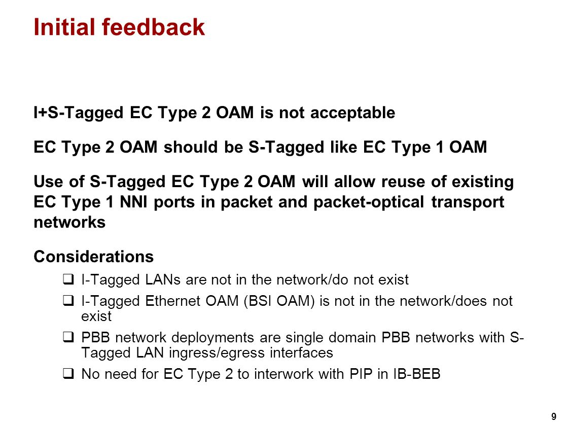 30 Layer stack PB + PBB II for EVC(C-VLAN) via EC Type 1 EVC EC (Type 1 and Type 2 ) EC(BVLAN) EC PHY EC PHY EC(BVLAN) EC PHY EC PHY EC(BVLAN) EC PHY EC PHY EC PHY EC(BSI) C-VID B-MAC S-VID I-SID B-VID S-VID I-SID S-VID is optional; typically not present in a 1:1 case C-MAC