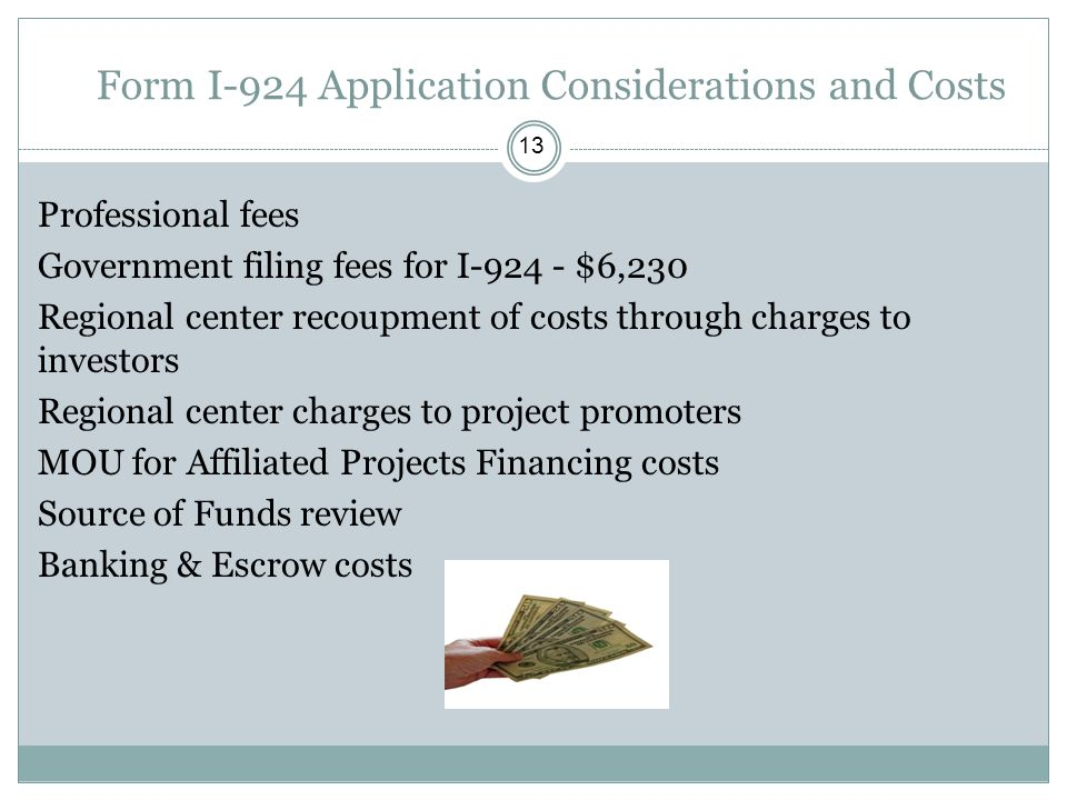 Form I-924 Application Considerations and Costs 13 Professional fees Government filing fees for I-924 - $6,230 Regional center recoupment of costs thr