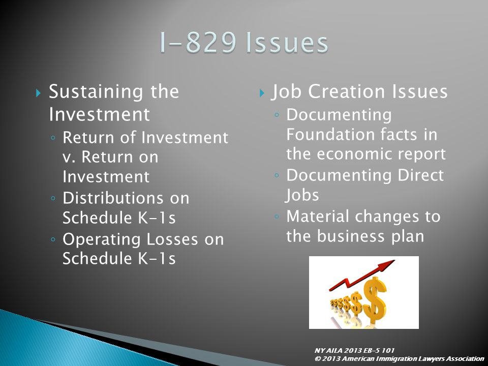  Sustaining the Investment ◦ Return of Investment v. Return on Investment ◦ Distributions on Schedule K-1s ◦ Operating Losses on Schedule K-1s  Job