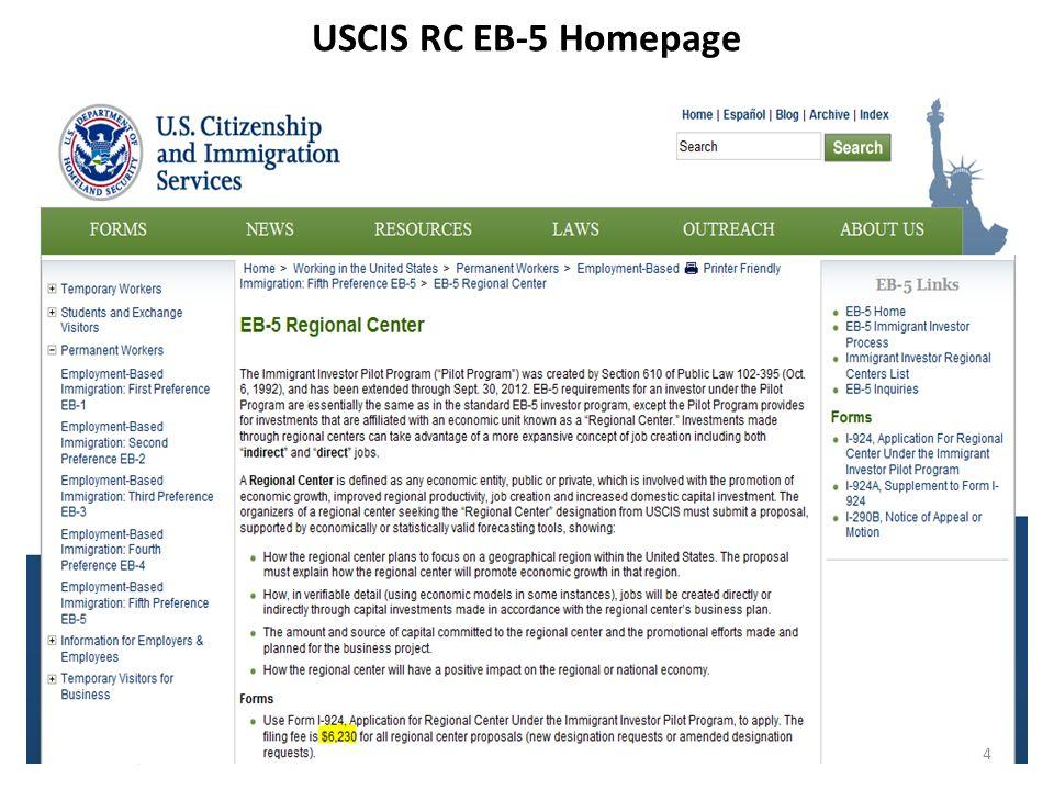 USCIS RC EB-5 Homepage 4