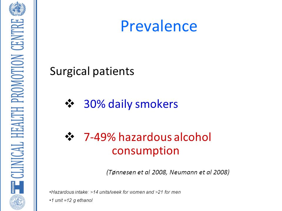 Prevalence Surgical patients  30% daily smokers  7-49% hazardous alcohol consumption (Tønnesen et al 2008, Neumann et al 2008) Hazardous intake: >14