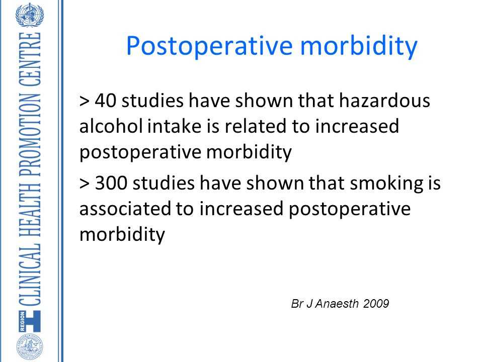 Postoperative morbidity > 40 studies have shown that hazardous alcohol intake is related to increased postoperative morbidity > 300 studies have shown