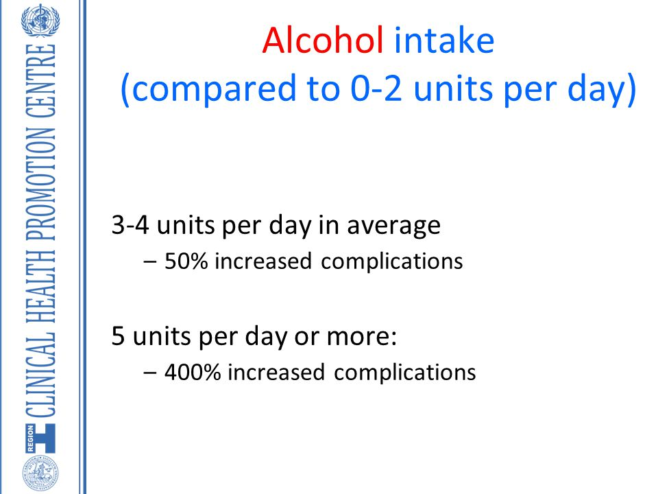 Alcohol intake (compared to 0-2 units per day) 3-4 units per day in average –50% increased complications 5 units per day or more: –400% increased comp