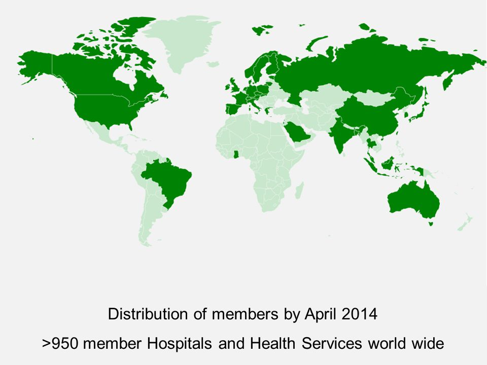 Distribution of members by April 2014 >950 member Hospitals and Health Services world wide