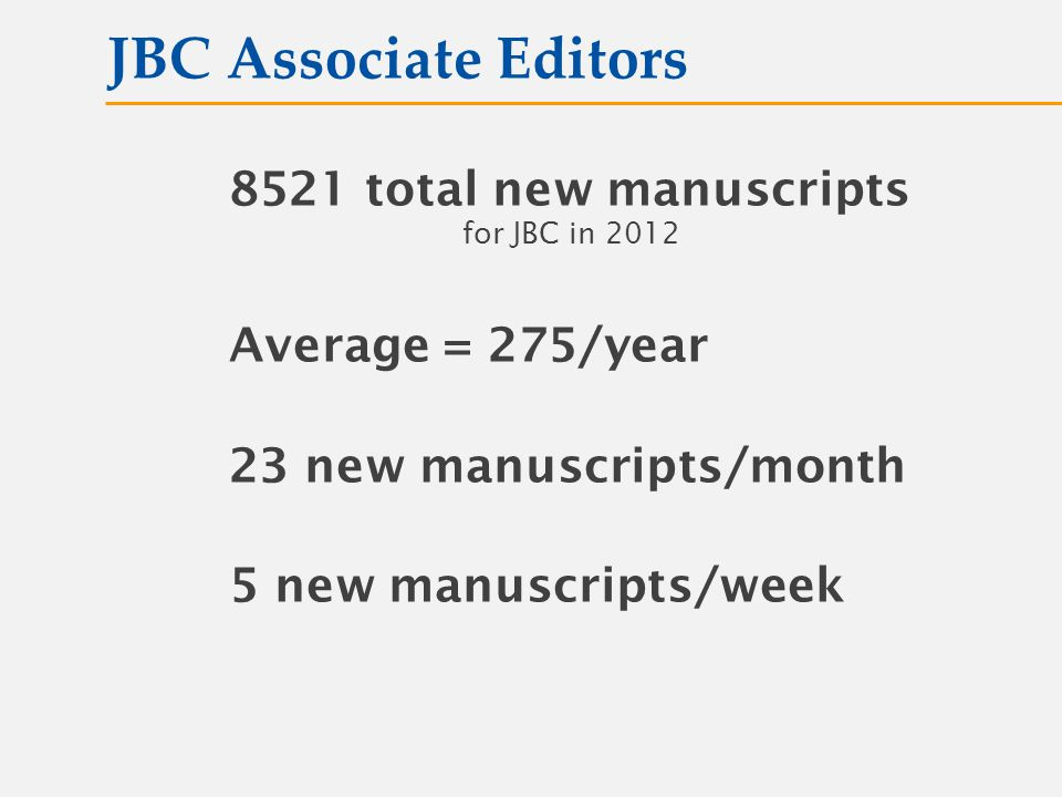 8521 total new manuscripts for JBC in 2012 Average = 275/year 23 new manuscripts/month 5 new manuscripts/week JBC Associate Editors