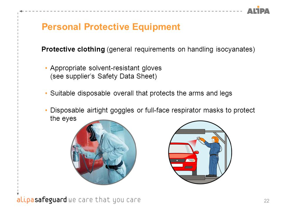 22 Personal Protective Equipment Protective clothing (general requirements on handling isocyanates) Appropriate solvent-resistant gloves (see supplier's Safety Data Sheet) Suitable disposable overall that protects the arms and legs Disposable airtight goggles or full-face respirator masks to protect the eyes