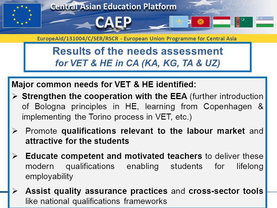 EuropeAid/131004/C/SER/RSCR - European Union Programme for Central Asia Results of the needs assessment for VET & HE in CA (KA, KG, TA & UZ) Major com