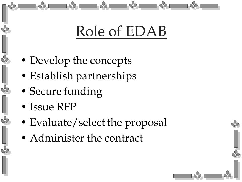 Role of EDAB Develop the concepts Establish partnerships Secure funding Issue RFP Evaluate/select the proposal Administer the contract
