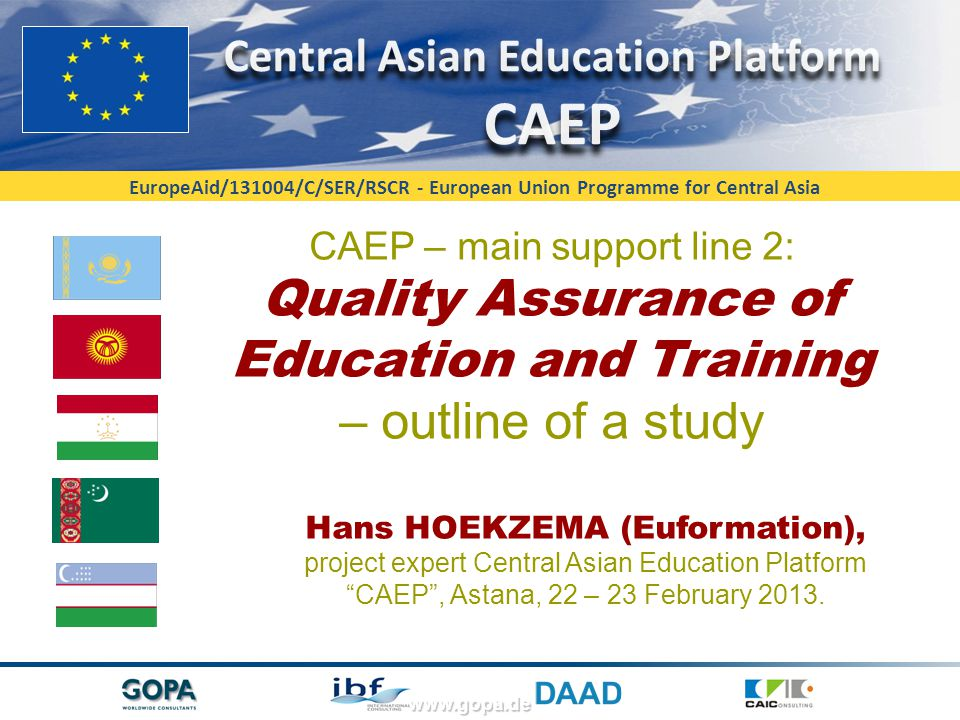 EuropeAid/131004/C/SER/RSCR - European Union Programme for Central Asia Contact data: Mr Hans F.