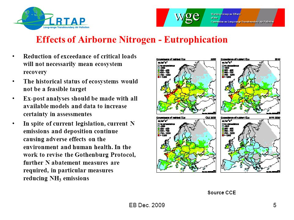 Effects of Airborne Nitrogen - Eutrophication Reduction of exceedance of critical loads will not necessarily mean ecosystem recovery The historical status of ecosystems would not be a feasible target Ex-post analyses should be made with all available models and data to increase certainty in assessmentes In spite of current legislation, current N emissions and deposition continue causing adverse effects on the environment and human health.