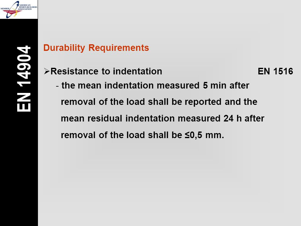 Durability Requirements  Resistance to indentationEN 1516 - the mean indentation measured 5 min after removal of the load shall be reported and the mean residual indentation measured 24 h after removal of the load shall be ≤0,5 mm.