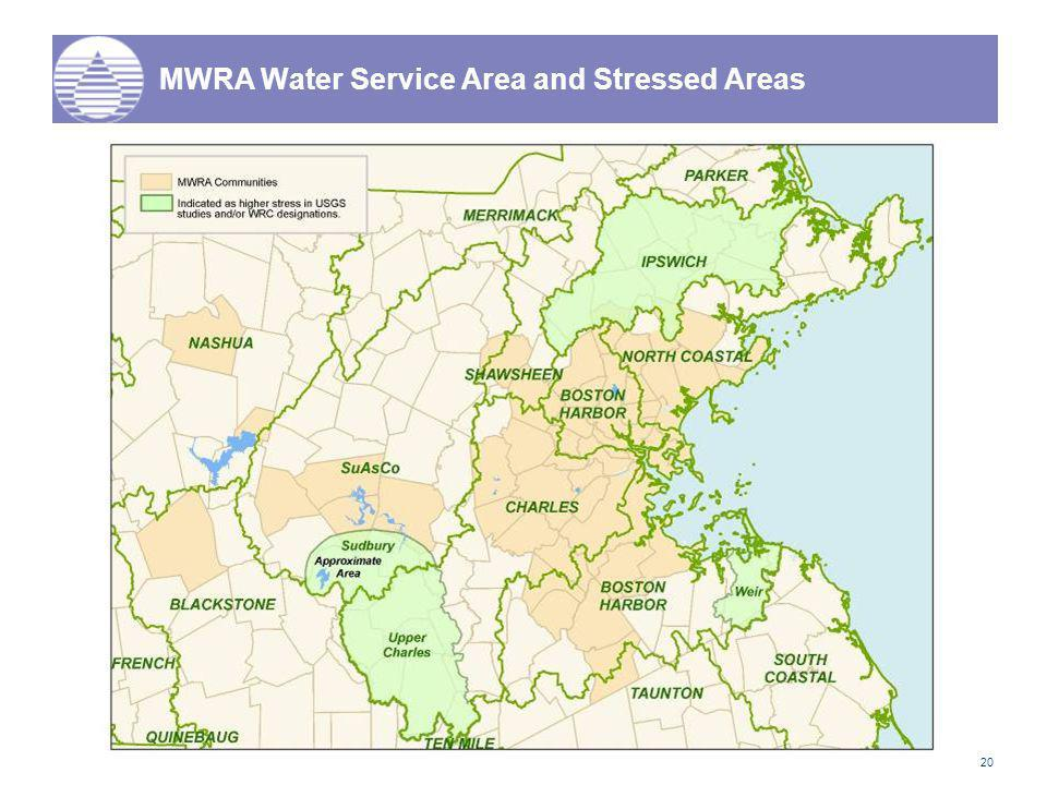 20 MWRA Water Service Area and Stressed Areas