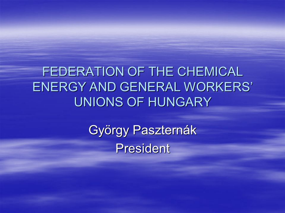 FEDERATION OF THE CHEMICAL ENERGY AND GENERAL WORKERS' UNIONS OF HUNGARY György Paszternák President